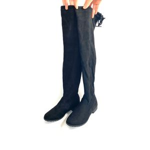Black Faux Suede Over-the-Knee Boots Size 9